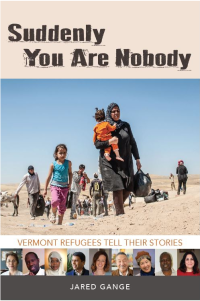 Book cover showing refugees